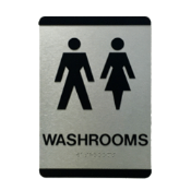 Washroom/Bathroom sign for your office. ADA approved, w/ Braille so your facility is Accessible, with symbols for Men, Women, Wheel Chair, Gender Neutral or Unisex