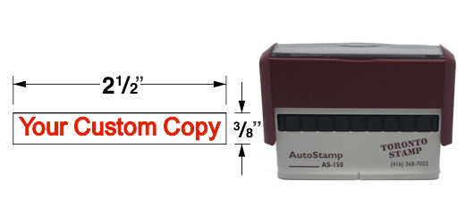 A WIDE RUBBER STAMP THAT CAN HOUSE A LOT OF TEXT ON A COUPLE LINES.